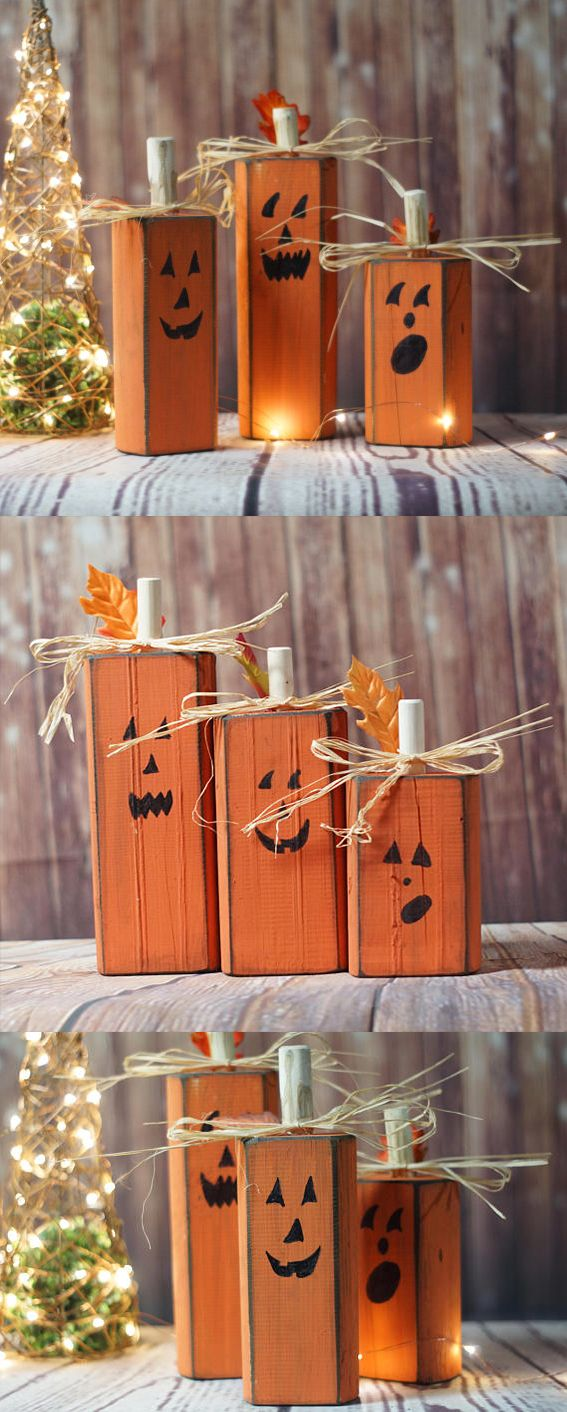 Wood Pumpkins, Rustic Halloween Decor, Pumpkin Decor, Reclaimed Wood - Primitive Halloween Decor