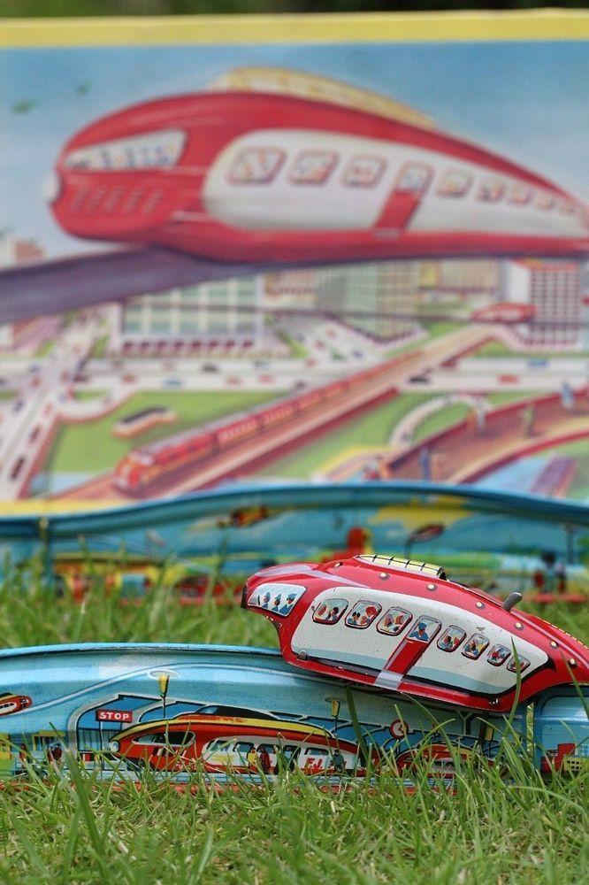 Details about Vintage tin toy windup AIR RAIL rail aérien