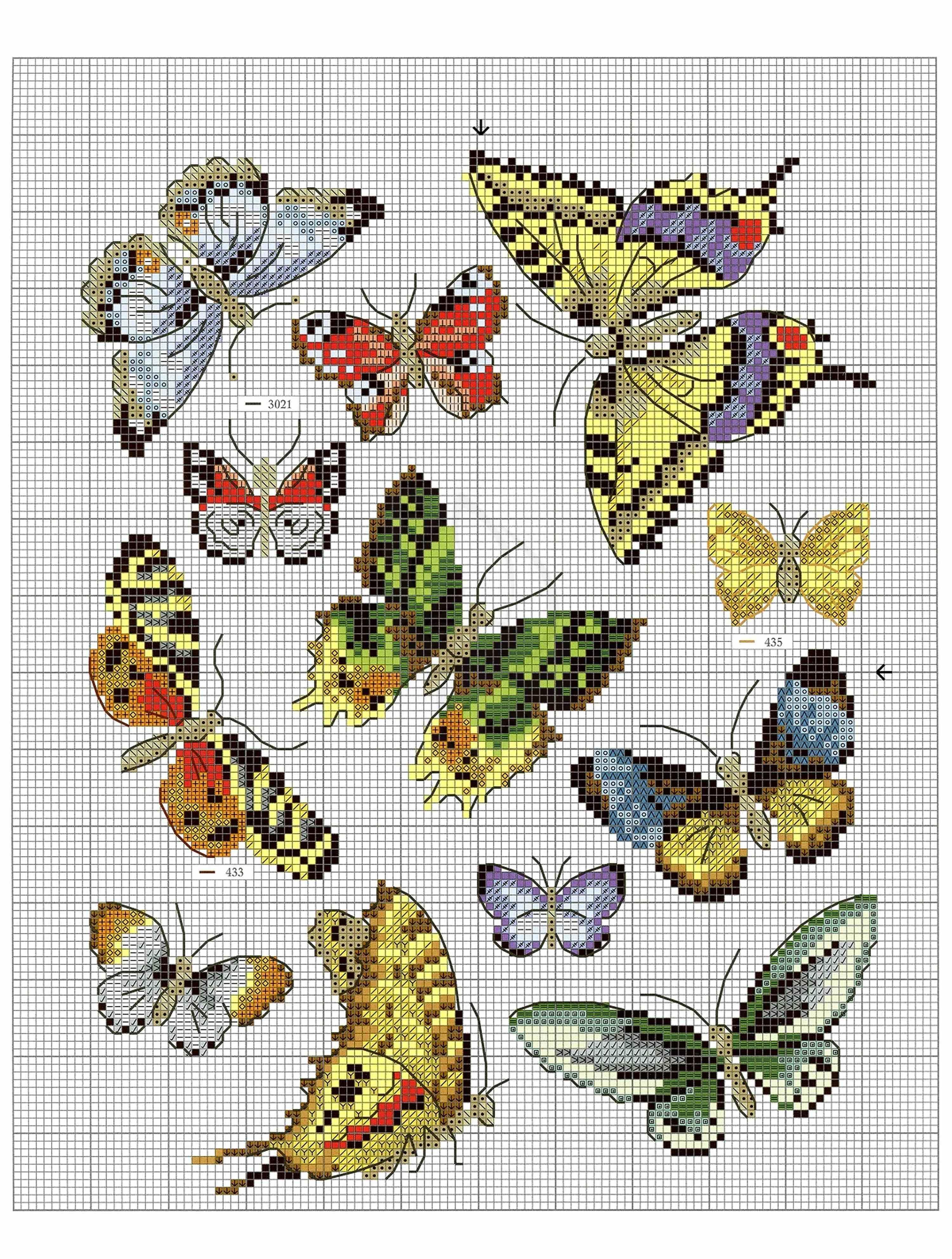 Схема вышивки крестом бабочки