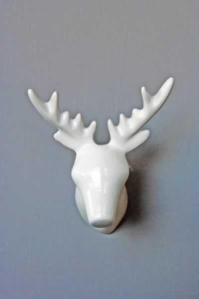 Zoo Dear Animals Coat Hooks Knobs White Deer View