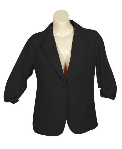 Plus Size Black Linen Blazer for only $39.00