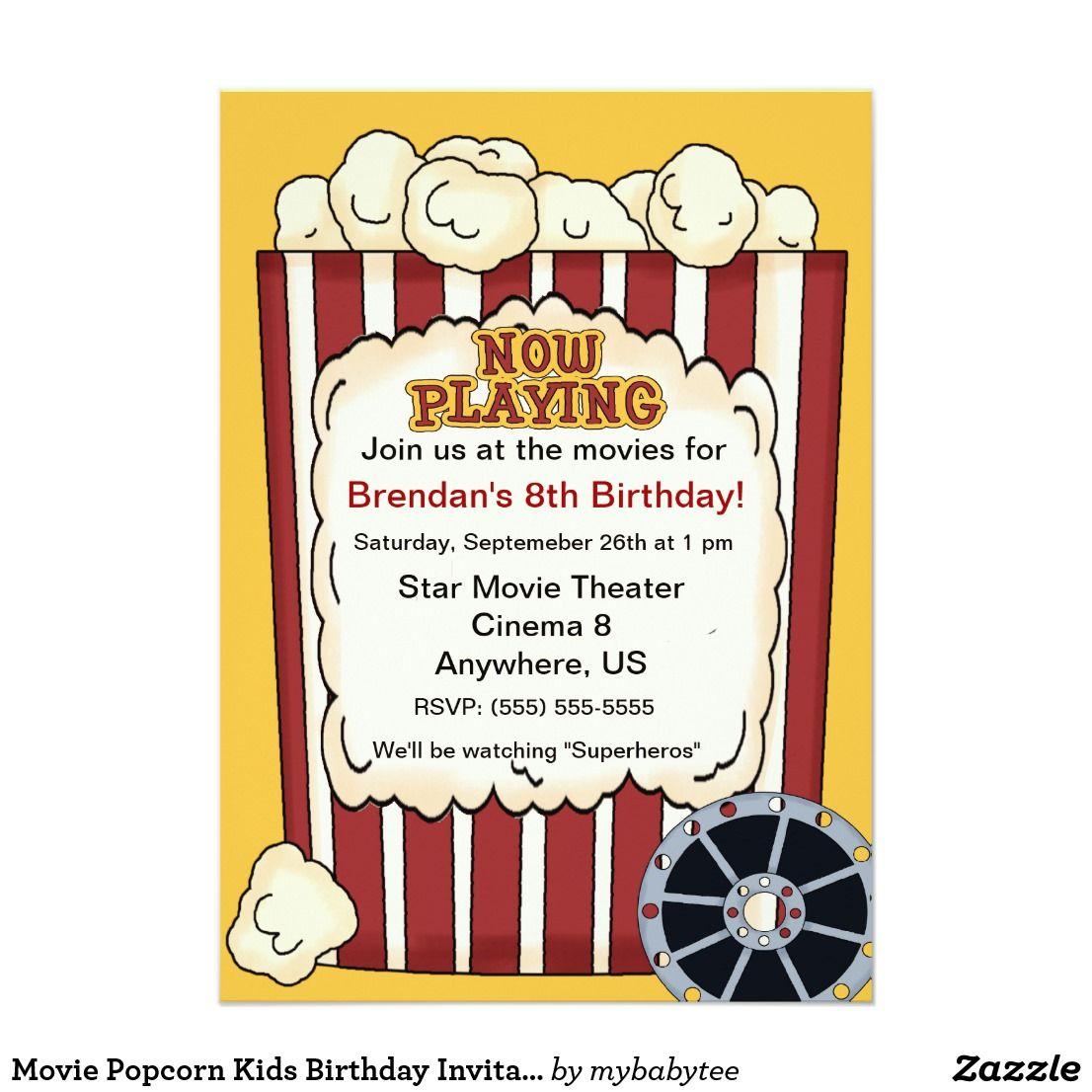 Movie Popcorn Kids Birthday Invitation | Take me to the drive-in ...