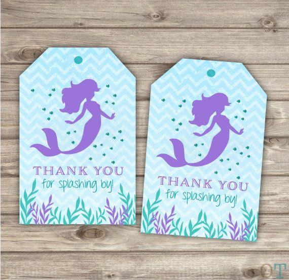 Wedding Favor Ideas Little Mermaid: Custom Wording Mermaid Thank You Tags Purple And Teal With