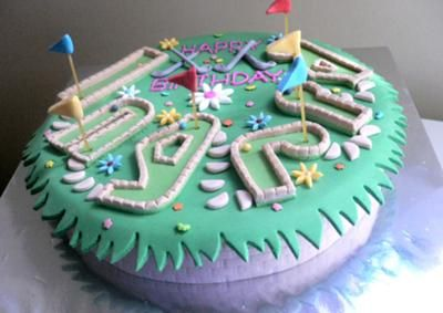 Mini Golf Cake I baked a 10in round banana cake torted and filled