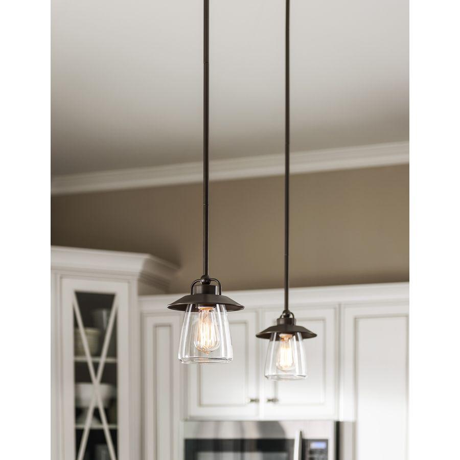 Shop allen + roth Bristow 6.5-in W Mission Bronze Mini Pendant Light ...