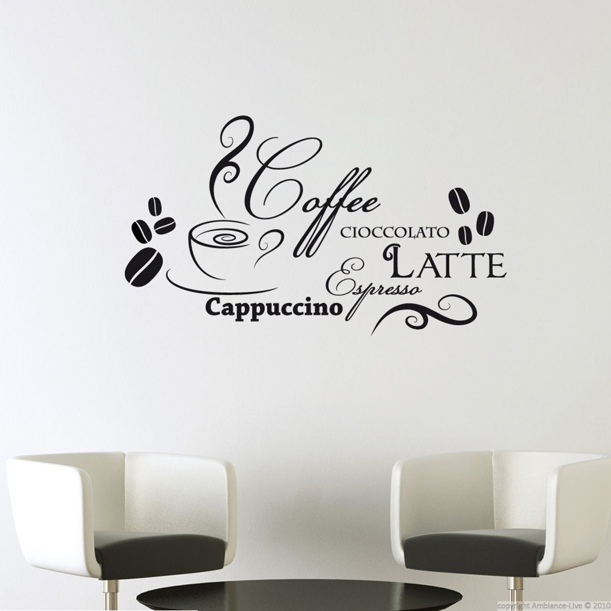 Sticker design caf et chocolat stickers muraux pour la for Stickers muraux cuisine