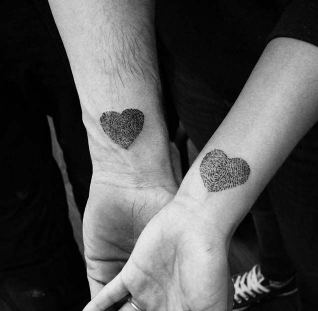 a30c988fc Heart-Shaped Finger Print Tattoos by Ugnius Bružinskas. Heart-Shaped Finger  Print Tattoos by Ugnius Bružinskas 34 Matching Couple Tattoos All Lovers  Will