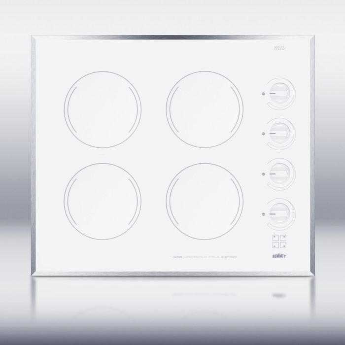 Summit Cr424wh 24 Inch Wide 4 Burner Electric Cooktop In Smooth White Ceramic Glass Finish Electric Cooktop Glass Cooktop White Ceramics