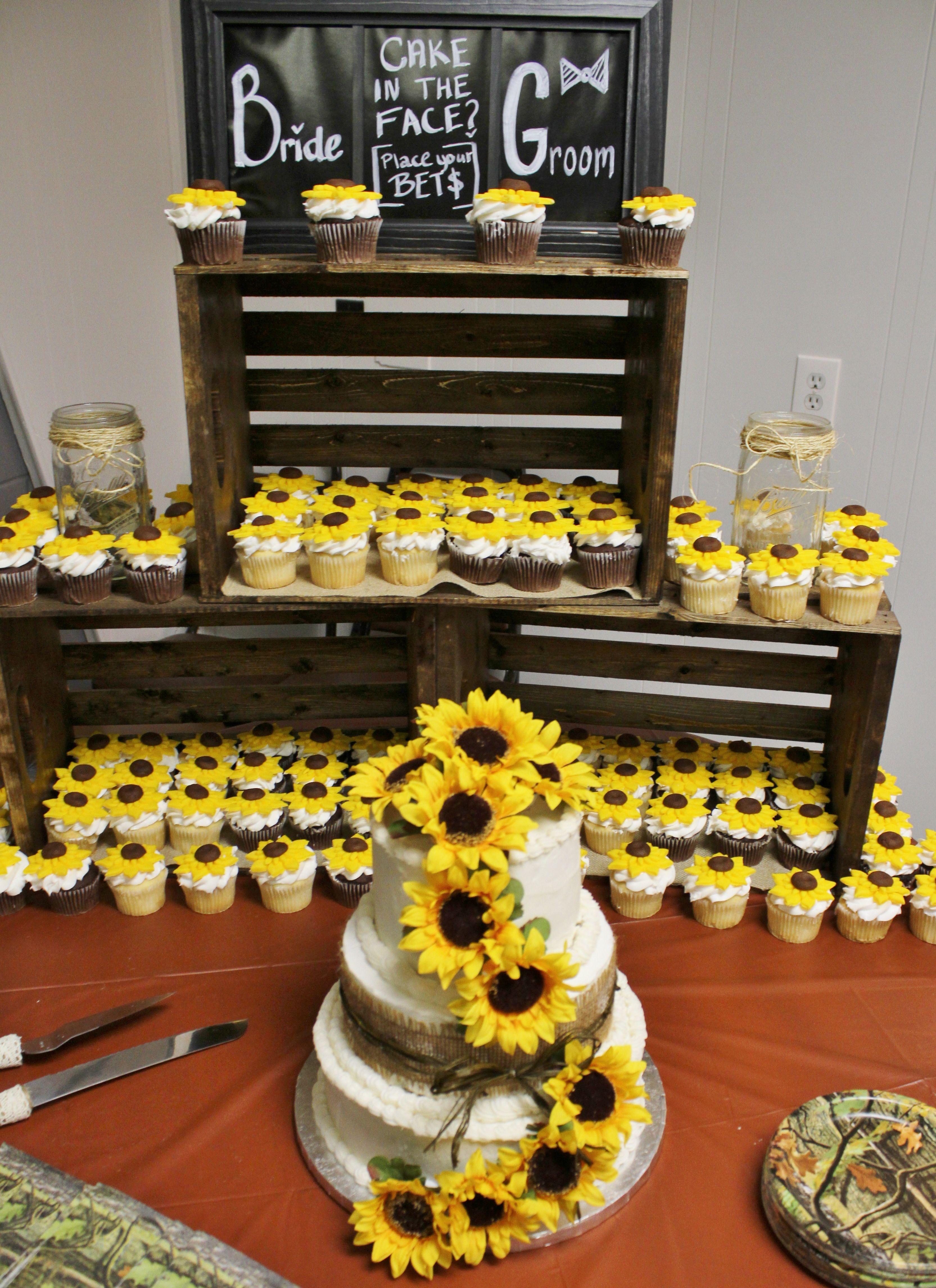 Wedding Cake And Sunflower Cupcakes For The Boss S Daughter