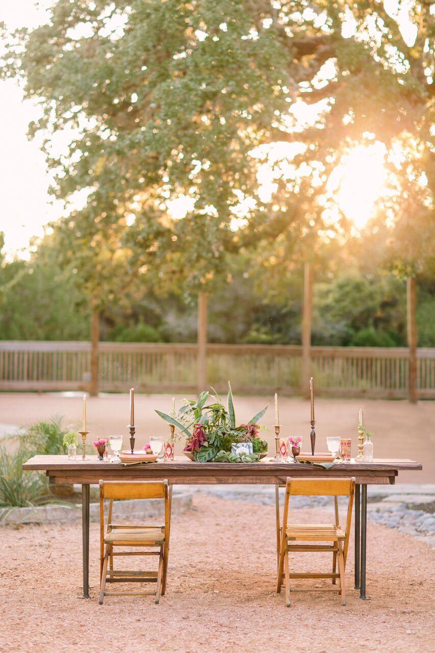 Wedding Dinner Farm Table With Tropical Greenery And Wood Folding - Farm table austin