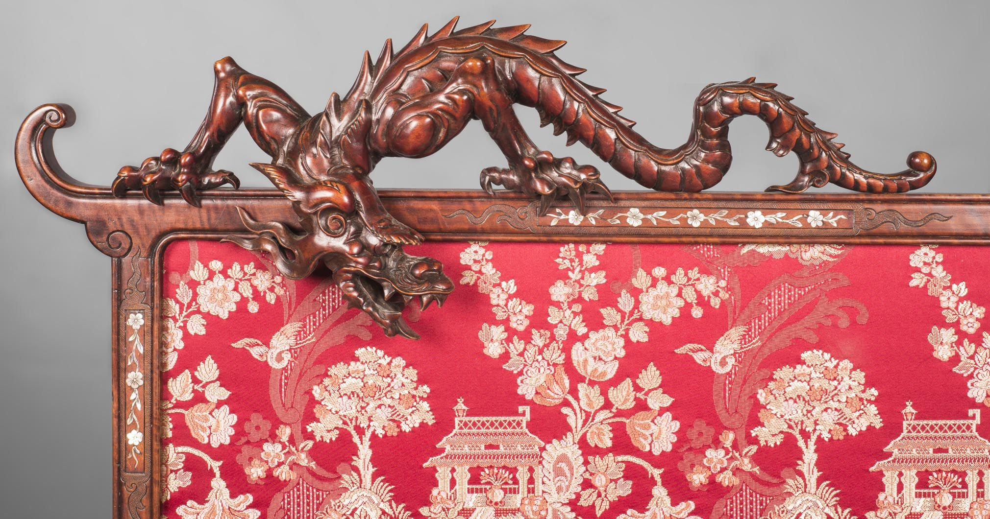 Cyrille Ruffier Des Aimes 1844 1916 Attributed To Japanese Style Fire Screen With Dragons Style Japanese Japanese Style