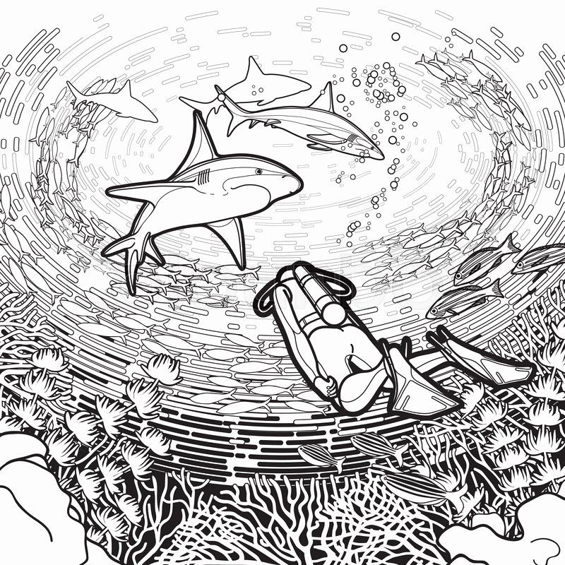 Scuba Diving Coloring Page Fresh Graphic Coral Reaf Scuba Divers And Cool Drawings Coloring Pages Mermaid Coloring Pages
