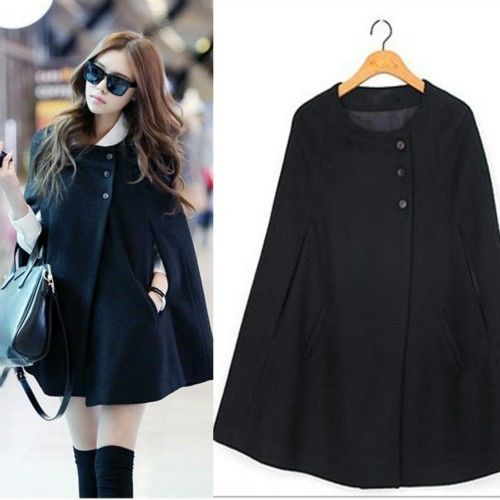 Autumn Women Cape Black Batwing Poncho Jacket Lady Winter Warm Wool Cloak Coat