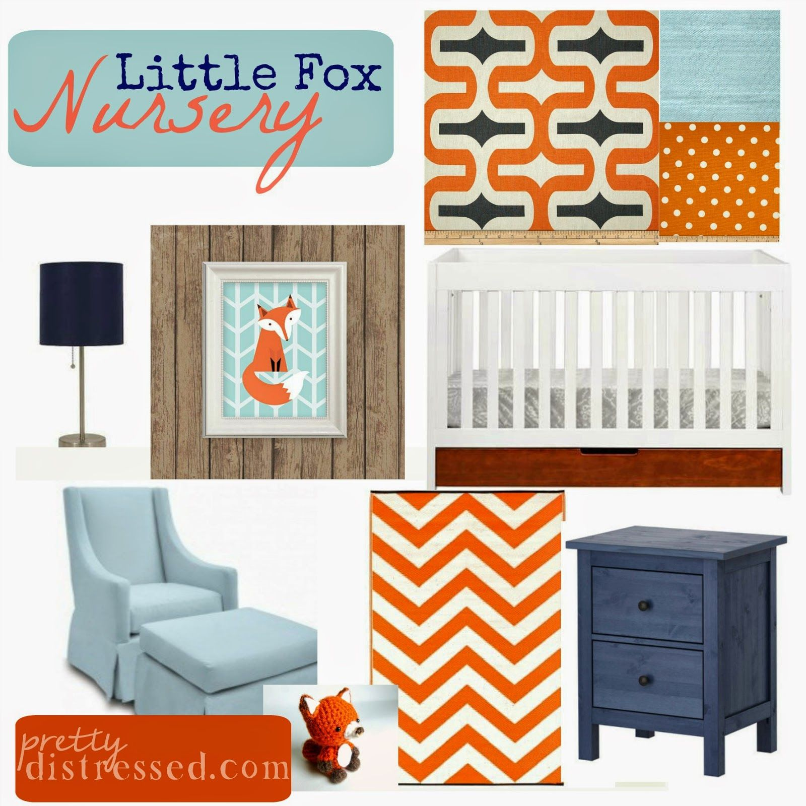 Little Foxes Nursery Orange Light Blue And Navy
