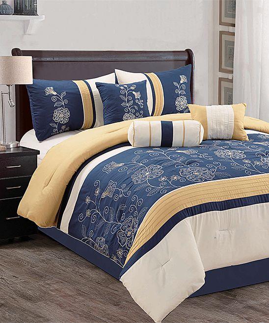 Navy Levi Floral Seven-Piece Comforter Set   Gold ...