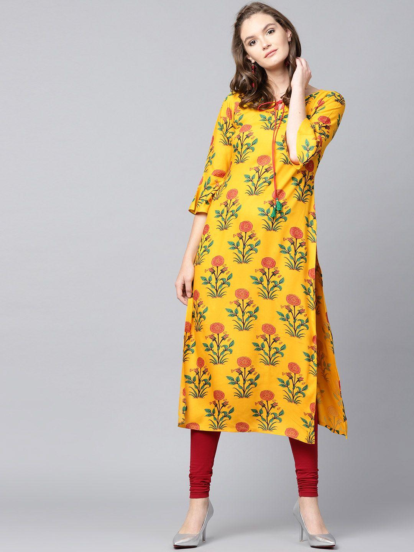 e0b9f7defd4 Buy GERUA Women Yellow Printed Straight Kurta - Kurtas for Women 6539957