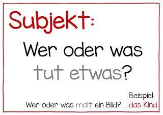 Endlich Pause 2.0: Fragenplakate zum Subjekt und Prädikat | iskola ...
