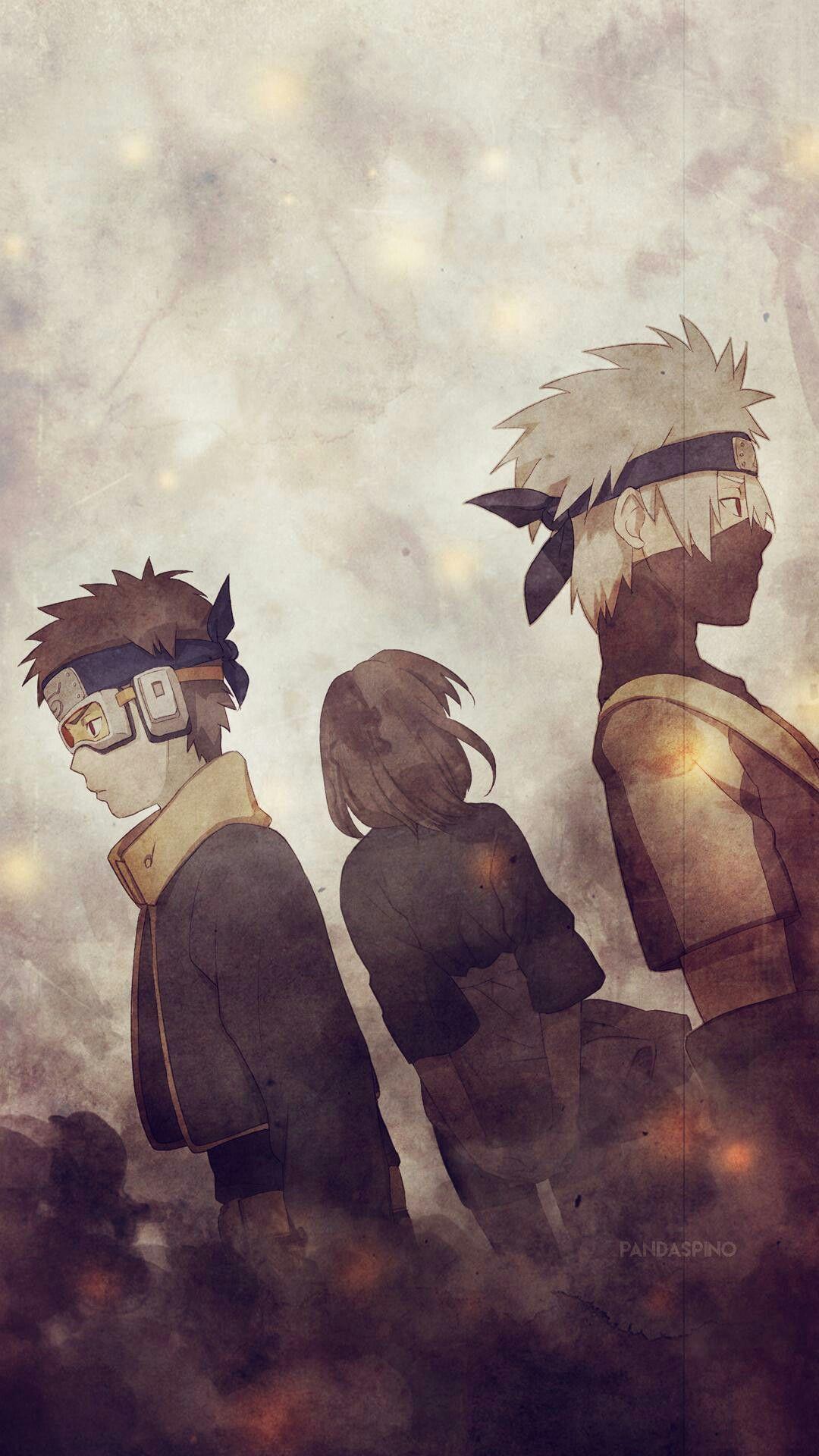 Kakashi, Obito y Rin Mobile Wallpaper Naruto