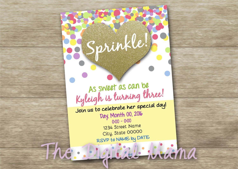 Sprinkle or Sparkle Birthday Party Invitation - 3rd Birthday ...
