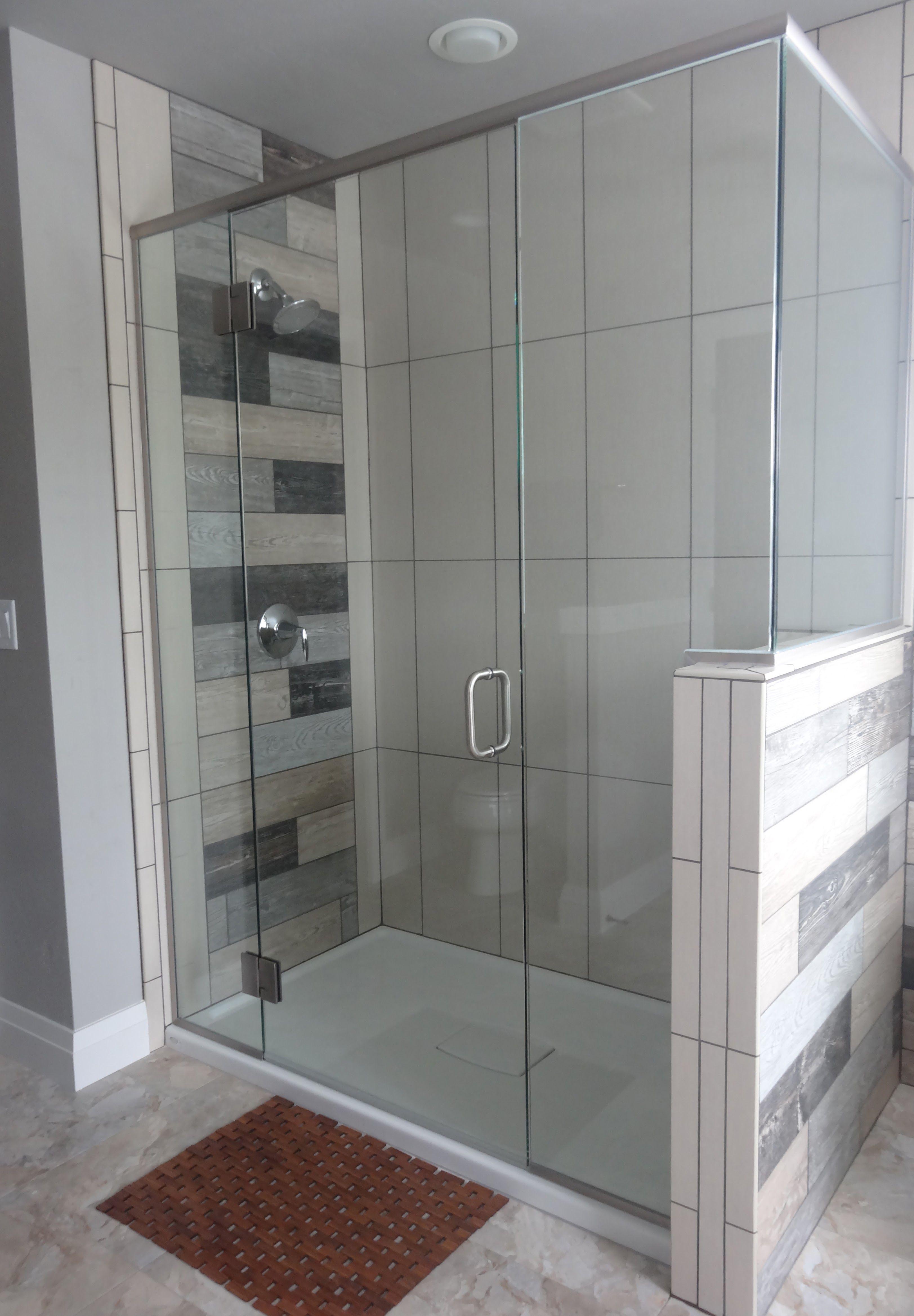 Custom Heavy Glass Shower Door With A Panel Door Notched Panel