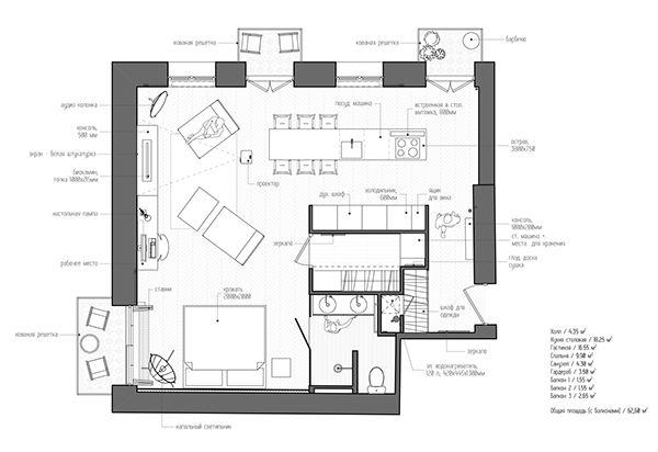 Studio In Moscow 55m2 Apartment Architecture Apartment Floor Plans Apartment Plans