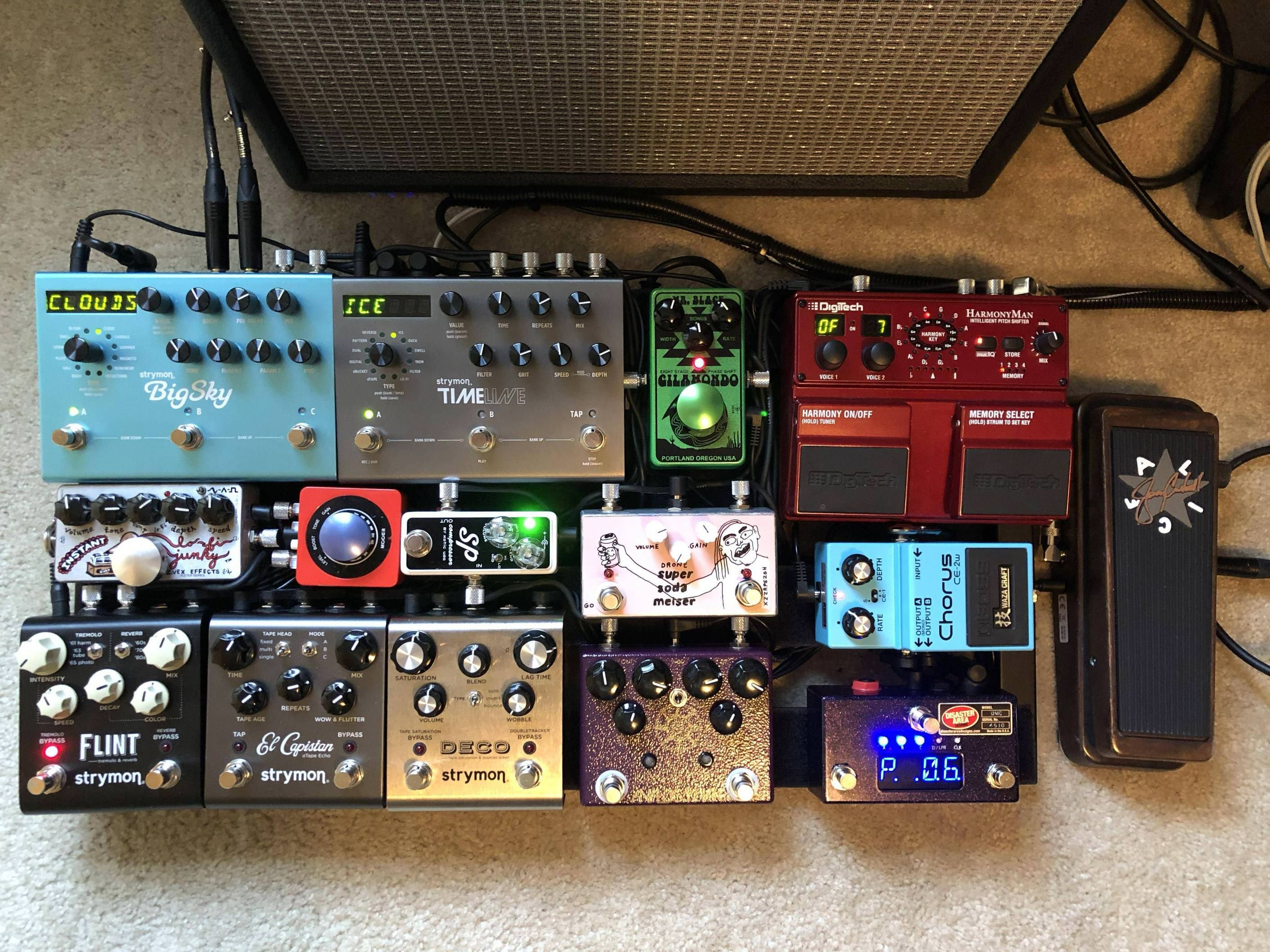 The Pedalboard Is Donezo This Is Version 16 And I Truly Couldn T Be Happier Pedalboard Guitar Pedals Guitar Rig