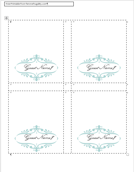How To Make Your Own Place Cards For Free With Word And Inside Best Free Wedding Pl In 2020 Wedding Place Card Templates Printable Place Cards Free Place Card Template
