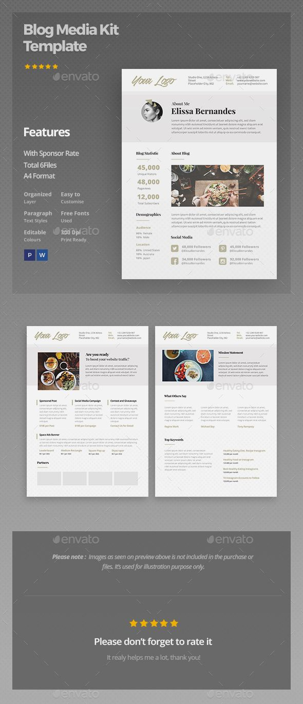Blog Media Kit Template | Media kit template, Graphics and Proposal ...