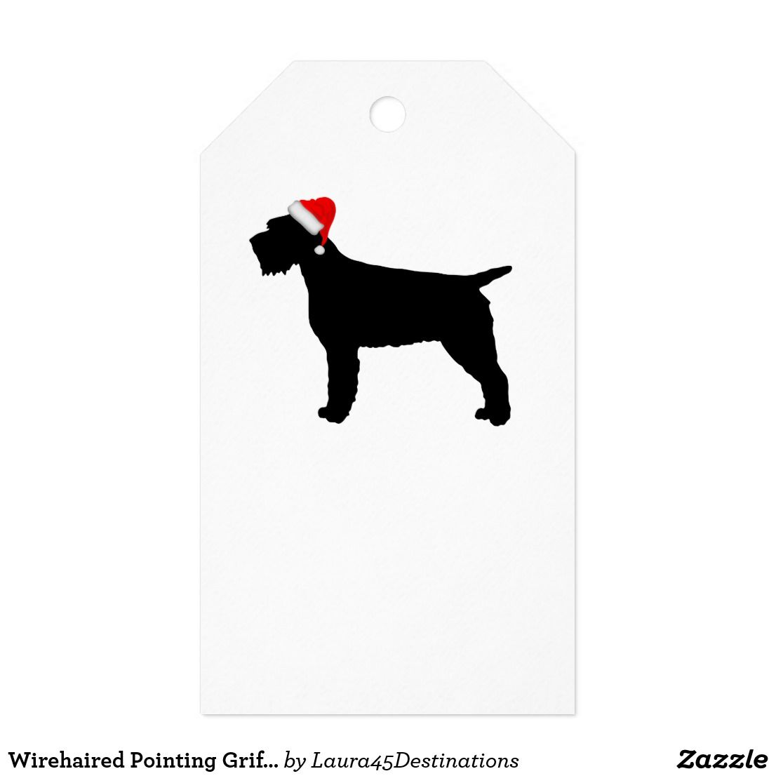 Wirehaired Pointing Griffon Dog With Red Santa Hat Gift Tags ...