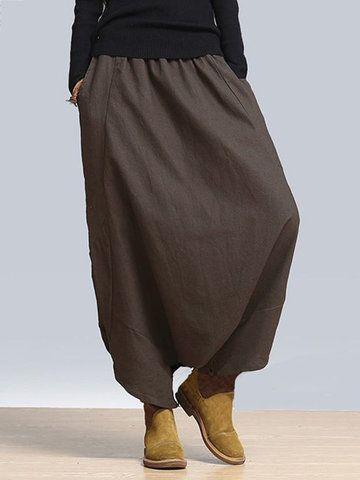 5be8cfe3 O-NEWE Pantalones harem casuales amplios de color puro de talle elástico  con bolsillos para mujeres - NewChic Móvil