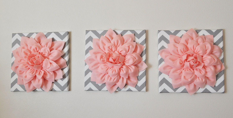 Light Pink Dahlia Flowers On Gray And White Chevron Canvas Set Of Three Flower Wall Decor Wall Art Sets Dahlia Flower
