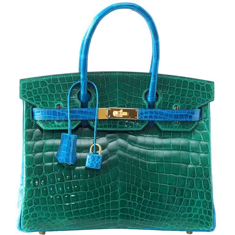 HERMES BIRKIN bag 30 Emerald Green Blue Izmir Crocodile bi color ...