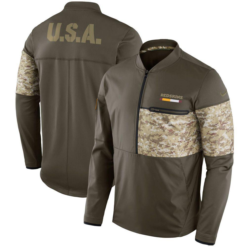 46b530e07 Men s Washington Redskins Nike Olive Salute to Service Sideline Hybrid  Half-Zip Pullover Jacket