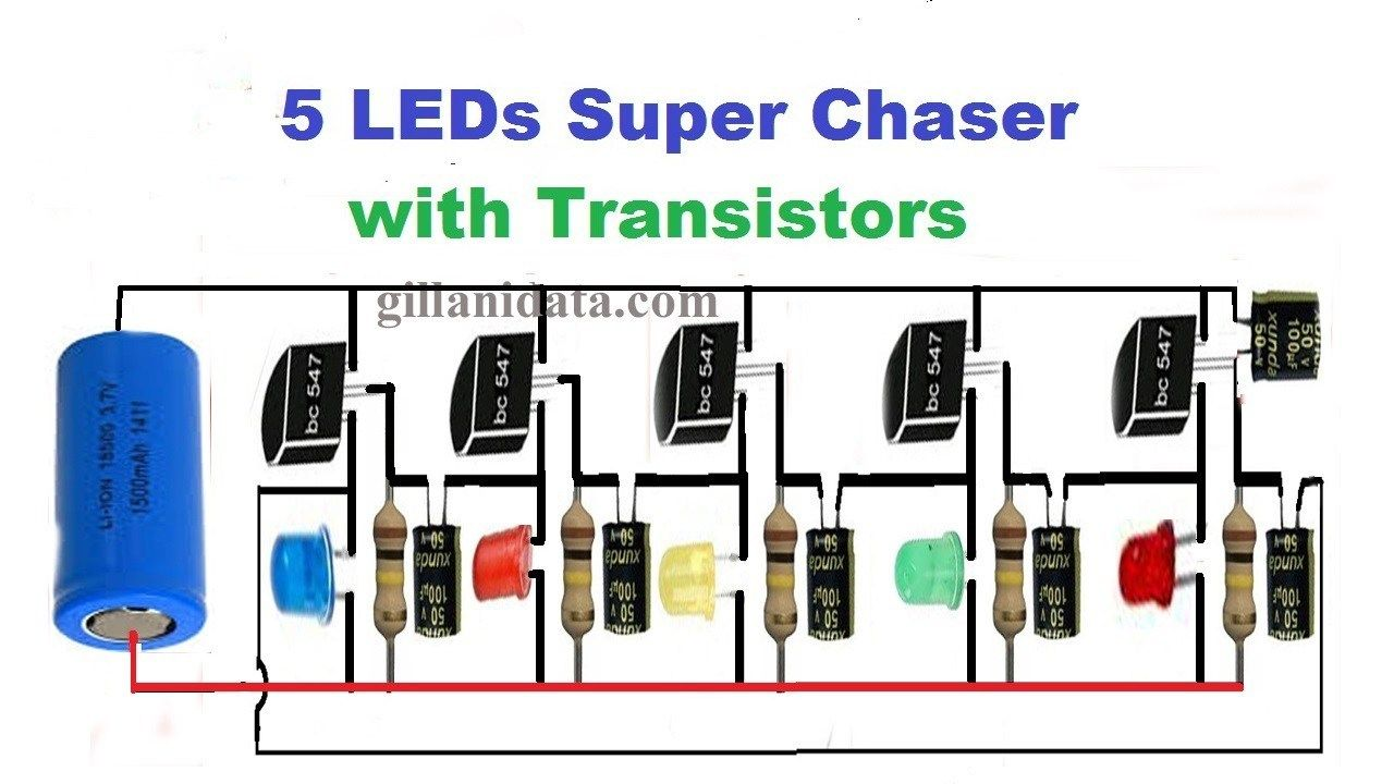 This Simple 5 Channel Led Chaser Using Transistors Can Be Used In Any Application Requiring Led Light E In 2020 Transistors Circuit Diagram Electronic Circuit Projects