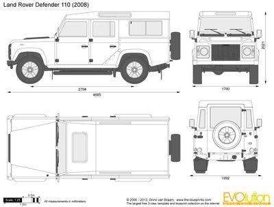 Vector Drawing Land Rover Defender 110 Mobil Sketsa Desain