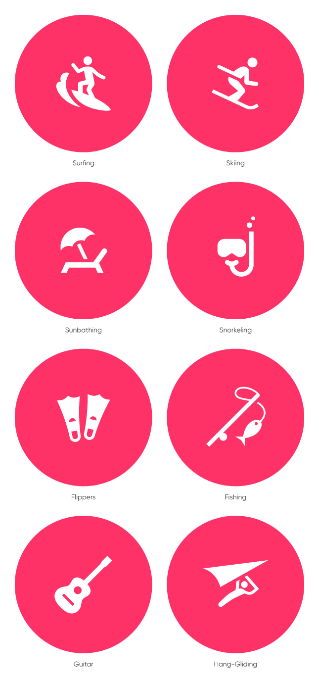 Surfing Icon Skiing Icon Sunbathing Icon Snorkeling Icon Flippers Icon Fishing Icon Guitar Icon And Hang Gliding Pictogram Design Custom Icons Pictogram
