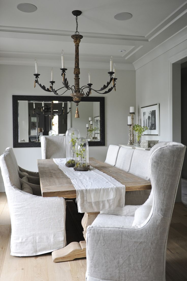 Dining Roomfarm Table And Slipcovered Chairs And Terrarium Impressive Slipcovered Dining Room Chairs Design Inspiration
