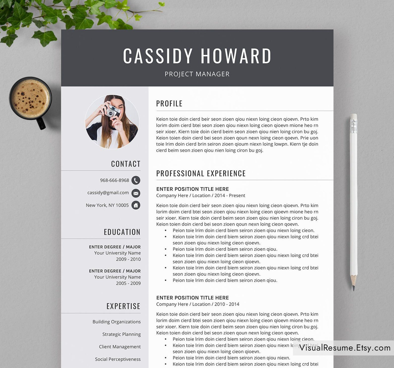 Professional Resume Template For Ms Word Creative Cv Etsy En 2021 Template Cv Etsy Resume