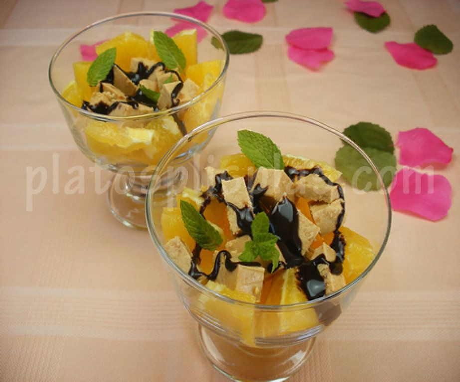 Copa de naranja y turrón | Cocinar en casa es facilisimo.com