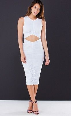 SUMMER STRETCHY V NECK DRESS SLEEVELESS BODYCON RUCHED MIDI CUT OUT TOP S M L
