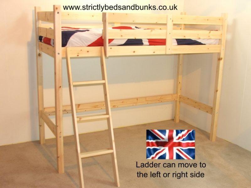 200 x 98 x 158cm Oscar Natural 3ft single solid pine loft Bunk Bed