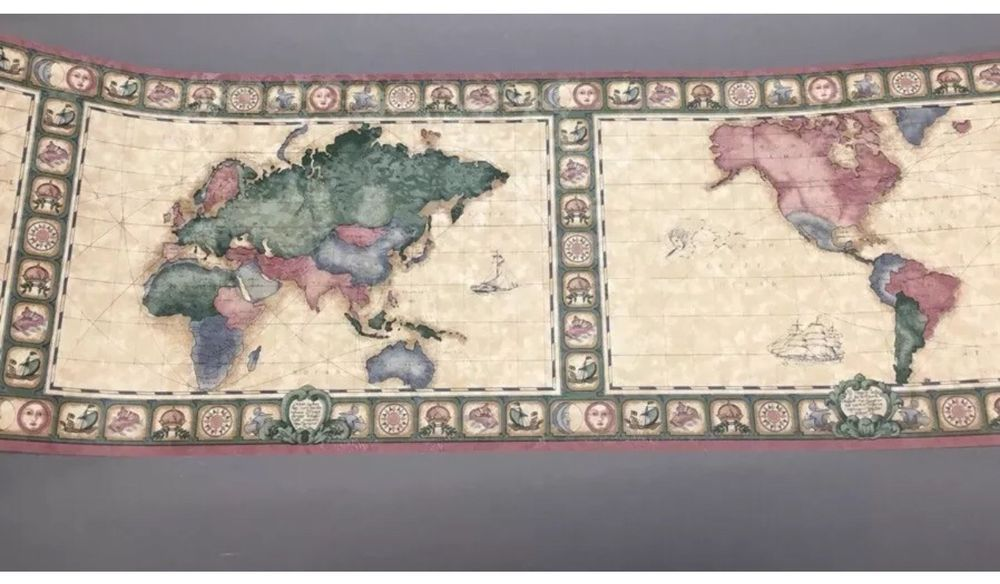 Old world nautical maps wallpaper border imperial wallcoverings old world nautical maps wallpaper border imperial wallcoverings ax5033b one roll gumiabroncs Image collections