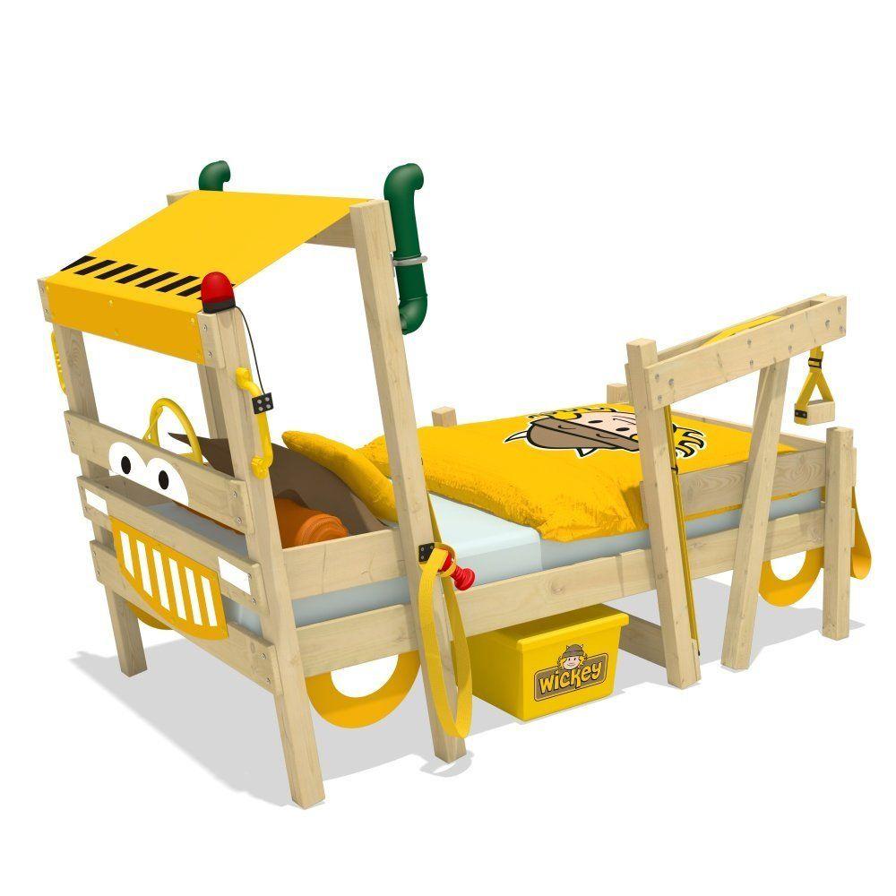 kinderbett bagger 90x200cm mit lattenboden | spielbett für das