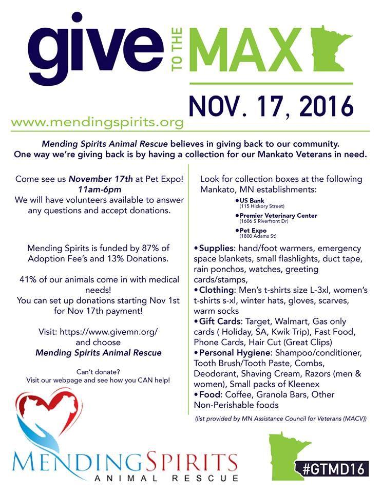 Mending Spirits Animal Rescue November Events Mark your