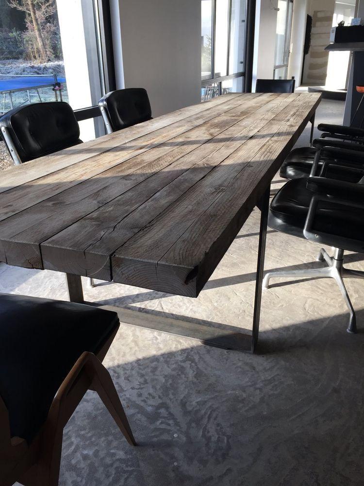 Grande Table Bois Metal Industrielle 3 50mx 0 80m Table Salle A Manger Salle A Manger Bois Table Bois