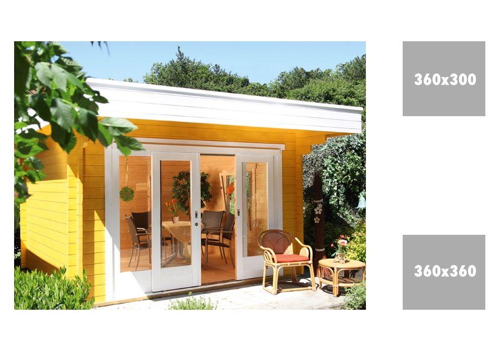 Gartenhaus WOLFF Sophie 44 mit großer Schiebetür Flachdach