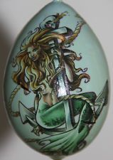 large gourd Easter egg,  garden or Christmas ornament with mermaid in Collectibles, Holiday & Seasonal, Christmas: Current (1991-Now), Ornaments, Other Current Tree Ornaments   eBay