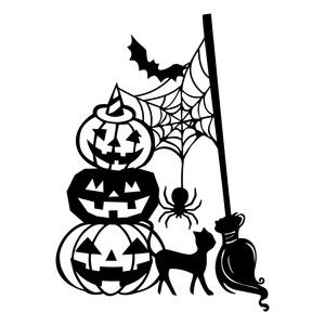 Silhouette Design Store - View Design #157375: witch halloween scene