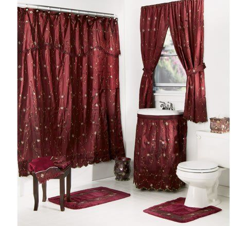Shower Curtains With Valance And Tiebacks Bathroom Curtains And