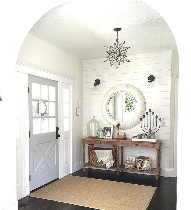 Farmhouse Sliding Door Wall: Shiplap And Entry Table
